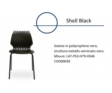 Sedia Shell Black in Polipropilene